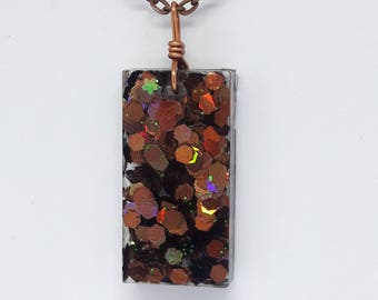 Bronze and Rainbow Glitter Necklace | Iridescent | Resin Jewelry