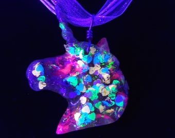 Neon Unicorn with Heart Shaped Glitter | Fluorescent | UV Reactive | Blacklight | Organza Ribbon or Chain
