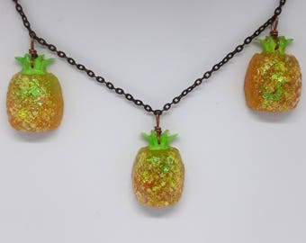 Pineapple Necklace | Fruit Jewelry | Chunky Glitter | UV Blacklight | Resin Jewelry