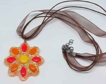 Neon Flower Necklace | Retro | UV Blacklight | Resin Jewelry | Organza Ribbon or Chain