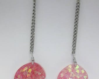 Pink Chunky Heart Glitter Dangle Earrings | Blacklight Jewelry