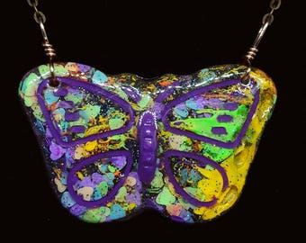 Neon Blacklight Butterfly Necklace | Glitter | Fluorescent Paint | Resin Jewelry