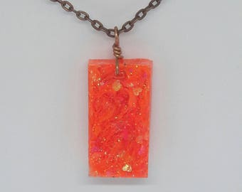 Neon Orange Blacklight Glitter Necklace
