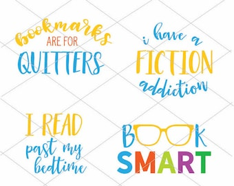 4 Book Lovers SVG Cut Files | Bookmarks Are For Quitters | Back To School Crafts | Instant Download