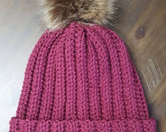 Crochet ribbed hat with pom pom