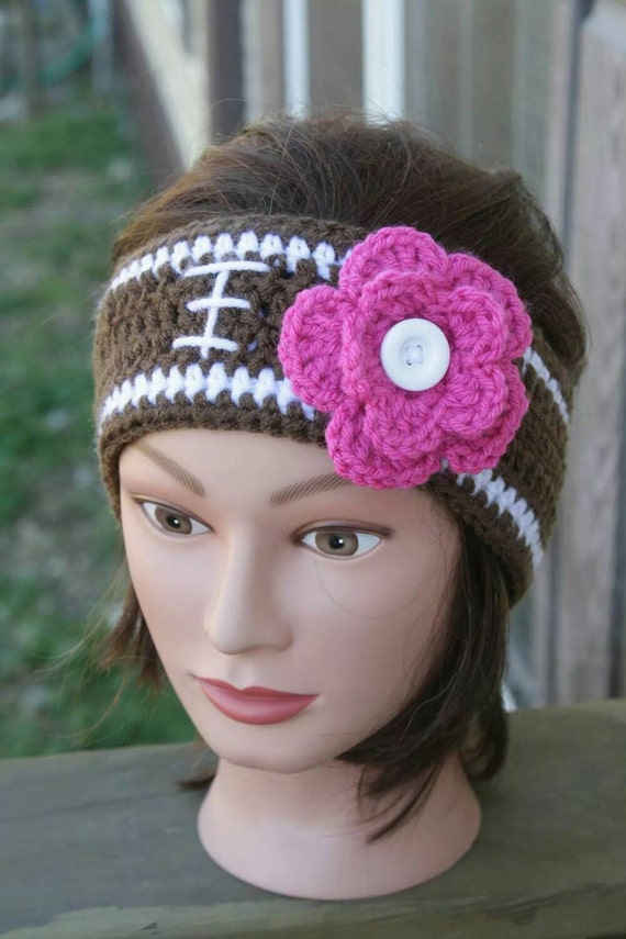 Crochet team ear warmers football headband head warmers  d2b9430edf9