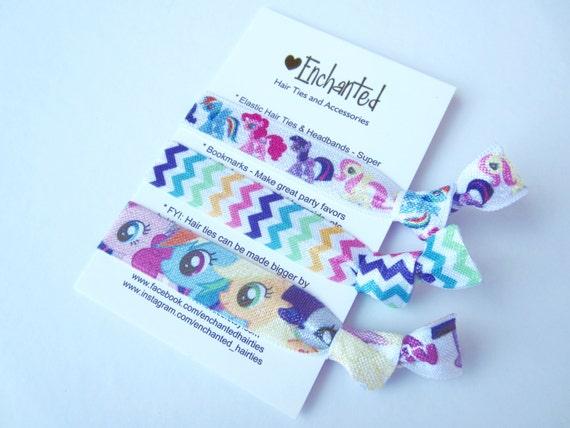 Little Pony Inspired 3-Pack Soft Elastic Hair Ties Bracelet  52243348fea