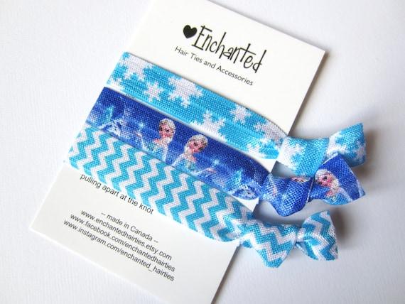 Elsa Inspired 3-Pack Soft Elastic Hair Ties Bracelet Ribbon  00b9196d354