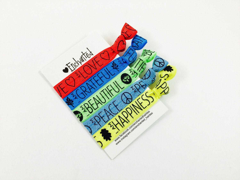 5 Pack Inspirational Sayings Elastic Hair Tie Bracelet