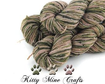 Donegal Tweed Superwash Dk Yarn - Rosebud - 100g, 231yd - Hand Dyed - Knitting, Crochet - Wool Yarn - Green, Tan, Pink