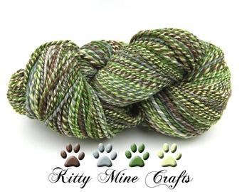 Ferns 3-ply Handspun Yarn - Merino Wool, Tussah Silk - Aran Yarn - Worsted Yarn - Green, Brown, Grey, Vanilla - 418 yards