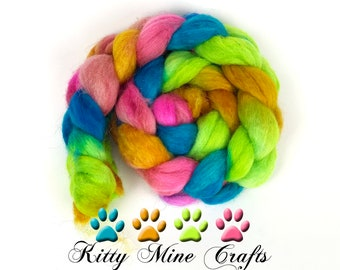 OOAK 80/20 BFL Wool, Firestar Nylon - 4oz - Combed Top for Spinning, Felting, Cuddling - Chartreuse, Pink, Bright Blue, Orange - Wool Roving