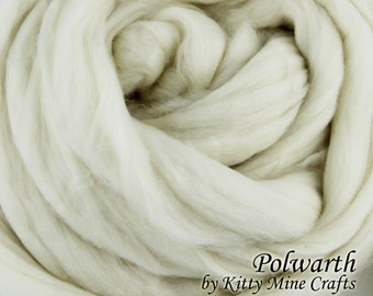 Undyed Polwarth Roving - Ecru, 8 oz - Wool Top - Combed Top - Dyeable - Spinning Supplies - Felting