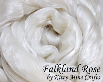 Undyed Falkland Rose Roving - Ecru, 8 oz - 60/40 Falkland Merino, Rose Fiber - Spinning - Felting - Wool Top