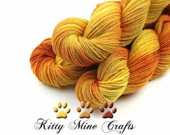 BFL, Tussah Silk and Gold Stellina DK Yarn in Sunrise Sparkle - 250yds/ 228m - Phat Fiber - Knitting, Crochet - Yellow, Orange Glitter