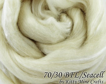 Undyed BFL Seacell Roving - Ecru, 8 oz - 70/30 Blue Faced Leicester, Seacell - Wool Top - Combed Top - Dyeable Fiber - Spinning - Felting