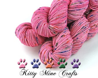 75/25 SW Merino/Nylon DK Yarn in Strawberry Frosting with Sprinkles - 245yds/ 224m - Phat Fiber Cupcakes & Candy Box - Speckle Dyed Yarn