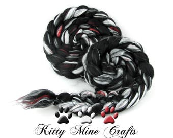 Little Black Dress - BFL, Mulberry Silk, Pearl Fiber - 4oz/113g - Spinning Fiber, Felting Wool - Wool Roving - Luxury Fiber