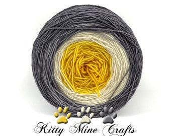 Dk Yarn Cake - Grey to Gold Gradient - Hand Dyed SW Merino Shawl Kit - Knit, Crochet - Superwash Wool Yarn - Double Knit - 1200 yds, 1097 m