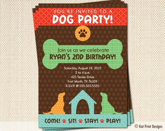 Dog Party Birthday Invitations