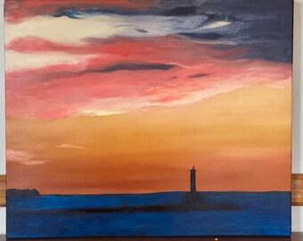 "20"" by 24"" Original Oil Fine Art Petoskey Pier Sunset #1 Medium Landscape"