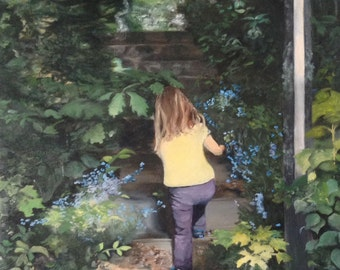 """Original Oil Fine Art Up the Staircase 18"""" by 24"""" Painting"""