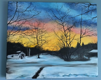 """Sunrise on Michigan Street 20"""" by 24"""" Original Oil Fine Art Painting with Bright Saturated Colors"""