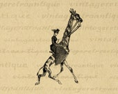 Lady Riding Giraffe Printable Digital Image Antique Illustration Download Graphic Vintage Clip Art for Transfers 300dpi No.3297