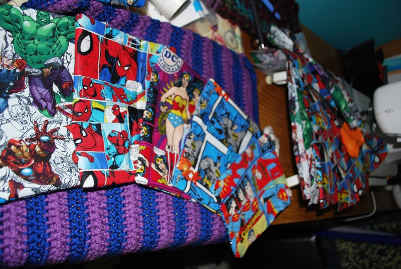 Superhero bags Party Favor bags Pouches Superhero Bags Comics Fabric Bags.