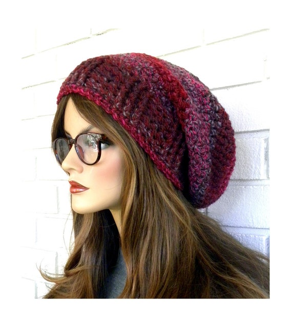 9c68db81a73 Slouchy Winter Hat Raspberry Slouchy Hat Boho Hat Oversized