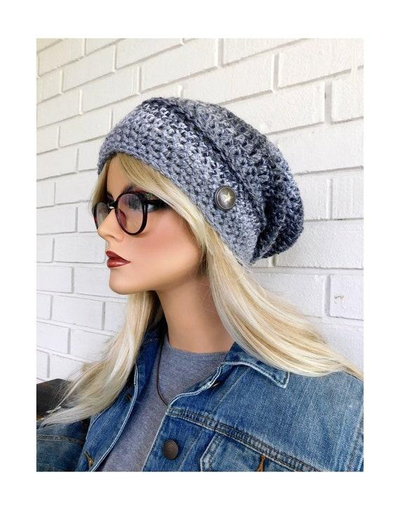 9a979272f33 Gray Stripe Slouchy Hat Gray Slouchy Beanie Beanie with
