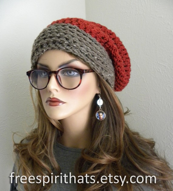 e12eee820a9 Slouchy Beanie Knit Hat Bohemian Chic Hand Crocheted Rust