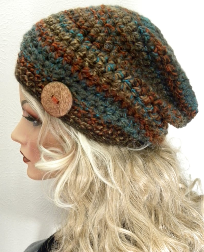 a51f8d33a38 Boho Chic Woodland Colors Slouchy Beanie Hat Hand Crocheted