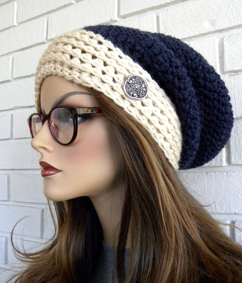 22d02430c15 Slouchy Winter Hat Boho Style Hat Blue and White Popular