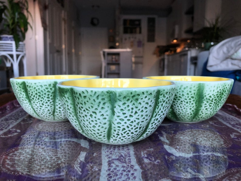 Majolica Cantaloupe Melon Knobler Japan Bowls Set of 3 Vintage Green Fruit Bowl