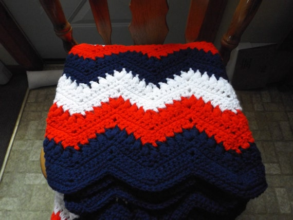 Red White And Blue Crocheted Afghanred White And Blue Etsy