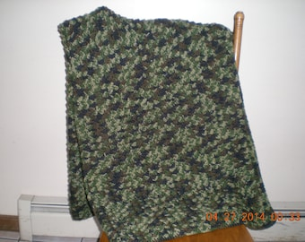 Camouflage Crocheted Afghan/Camo Colored Afghan/Crocheted Camouflage Blanket/Camo Throw Blanket/Multi Color Afghan/Textured Camo Afghan