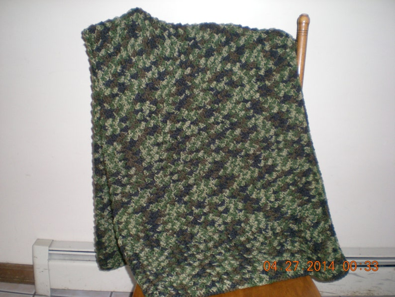 Camouflage Crocheted AfghanCamo Colored AfghanCrocheted Camouflage BlanketCamo Throw BlanketMulti Color AfghanTextured Camo Afghan