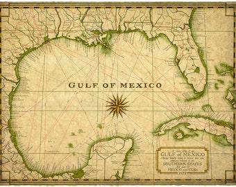 Gulf Coast Map Of Florida.Gulf Coast 1809 Southeast Map Art 13 5 X 19 Old Etsy