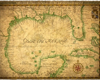 Map Of Gulf Coast Of Florida.Gulf And Caribbean Map Art C 1800 Old Maps Cuba Florida Etsy