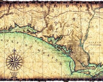 Florida Coastline Map.Gulf Coast Map Etsy
