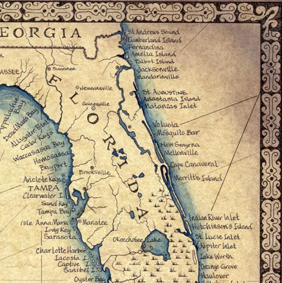 Alligator Point Florida Map.Florida Map Art Print C 1865 11 X 14 Hand Drawn Etsy