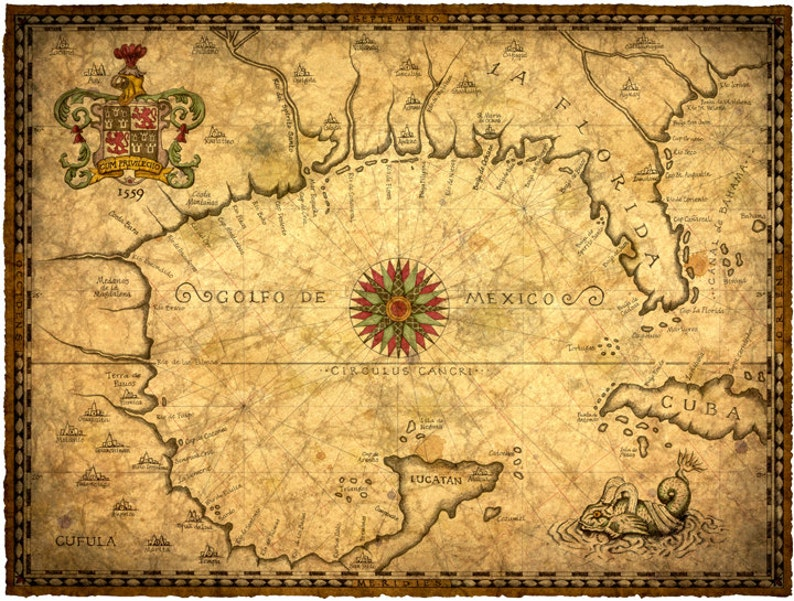 1559 Gulf Of Mexico Map Art 14 X 19 New World Discover Etsy