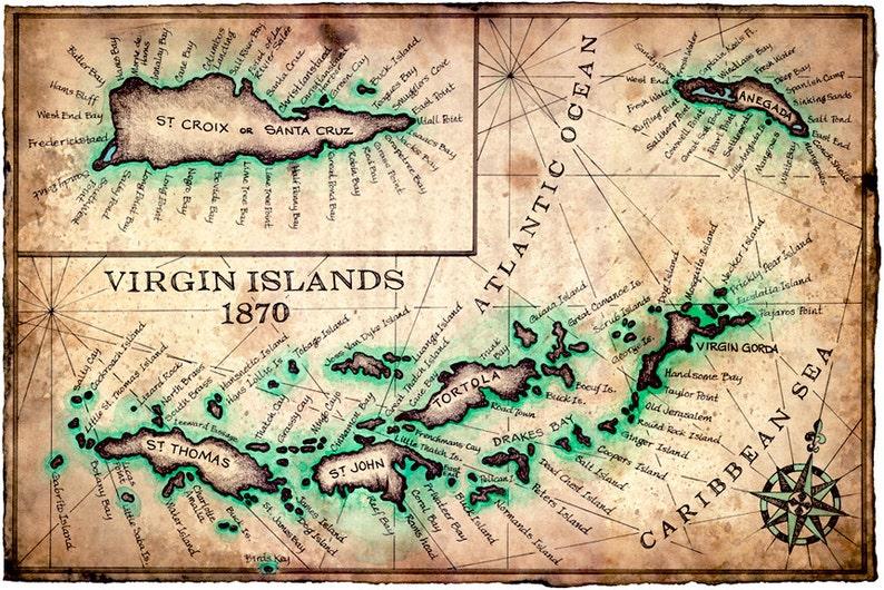 Virgin Islands Map Art Print c.1780 - 11\