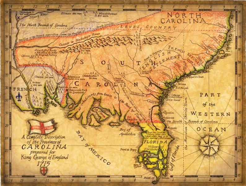 Carolina Map Art C 1715 Hand Drawn Maps Early Map Of The Etsy