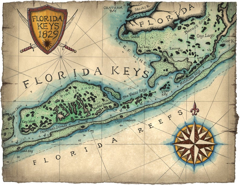Map Of Florida Keys And Key West.Florida Keys Reef Map Art C 1829 12 X 16 Key West Map Key Etsy