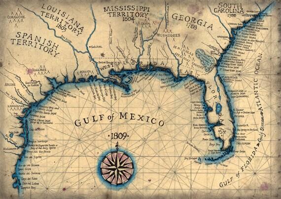 Florida Coastline Map.Gulf Coast 1809 Southeast Map Art 13 5 X 19 Old Etsy