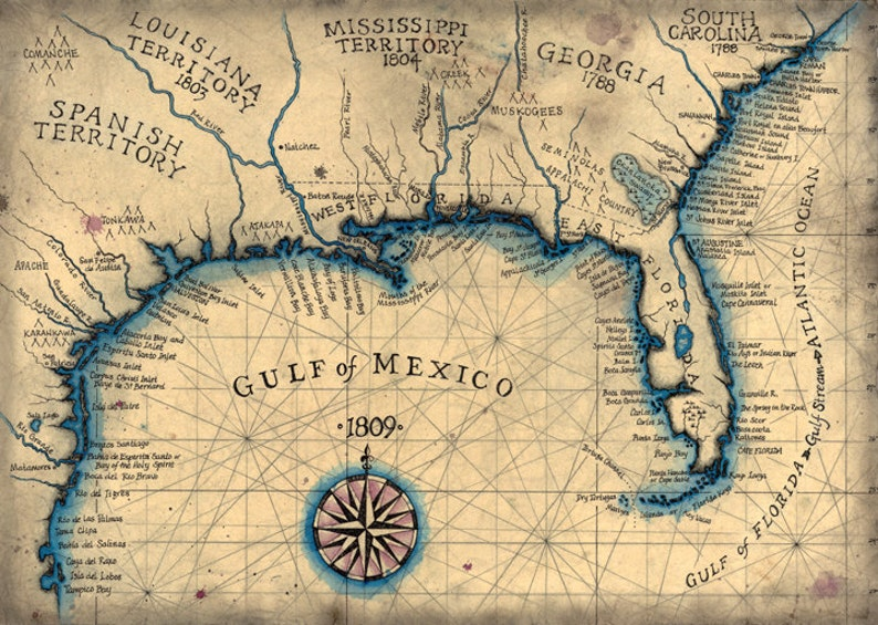 Map Of Texas And Florida.Gulf Coast 1809 Southeast Map Art 13 5 X 19 Old Etsy