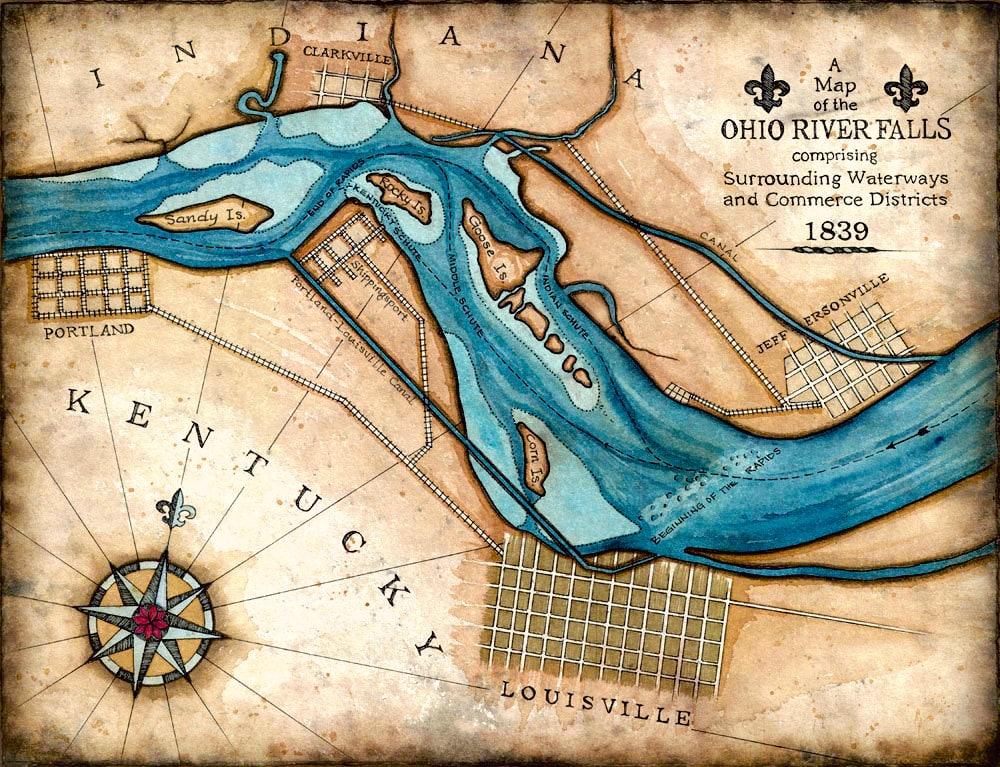Falls Of The Ohio Map.Ohio River Falls 11 X 14 Artistic Map Of The Ohio River Falls Etsy