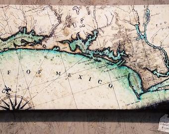 "Florida Panhandle Map Art - 24"" x 12"" x 2"" Canvas Gallery Wrap - Destin - Panama City FL - Chotawhatchee Bay - Apalachacola - Cape San Blas"